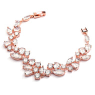 "Mosaic CZ Wedding Bracelet in 14K Rose Gold  - 7 3/8"" Size"