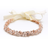 Rose Gold Slender Crystal Cluster Ribbon Wedding Headband