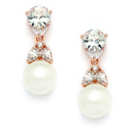 Dainty Rose Gold CZ and Pearl Drop Wedding Earrings