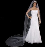 Beaded Pearl and Rhinestone Edge Cathedral Wedding Veil V3092C