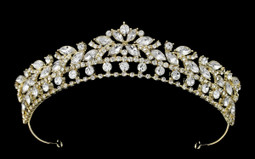 Dazzling Light Gold Rhinestone Bridal and Quinceanera Tiara