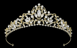 Light Gold Marquise Rhinestone Bridal Tiara