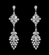 Sterling Silver Multi Cut Cubic Zirconia Wedding Earrings