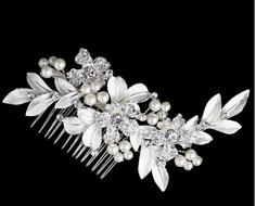 Silver Plated Ivory Pearl Flower and Leaf Bridal Comb