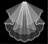 Two Tier Beaded Floral Embroidery  Fingertip Length Wedding Veil