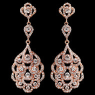 Rose Gold Vintage 1920's Inspired Wedding Earrings - Sale!