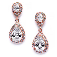Rose Gold CZ Teardrop Wedding Earrings 3520er