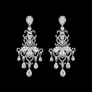 Lavish CZ Chandelier Silver, Gold or Rose Gold Wedding Earrings