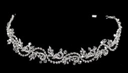 Crystal  and Rhinestone Vine Wedding Headband with Elastic Back