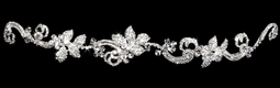 Hand-wired Rhinestone Floral Vine Bridal Headband with Elastic Back
