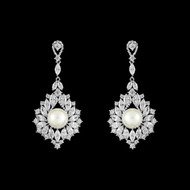 Marquise CZ and Pearl Wedding Drop Earrings