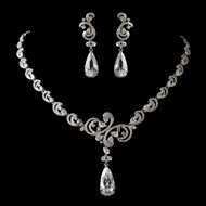 Stunning Antique Silver CZ Wedding Jewelry Set nec1313