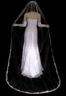 Champagne Beaded Lace Cathedral Length Wedding Veil V3112C