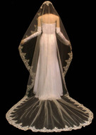 Mantilla Beaded Lace Cathedral Length Wedding Veil V3018CM
