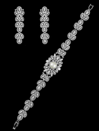 Exquisite Pearl and CZ Wedding Bracelet and Matching Earring Set