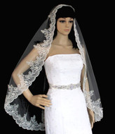 Mantilla Beaded Alencon Lace Fingertip Length Wedding Veil