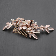 Hand Painted Rose Gold Leaf Crystal Bridal Comb