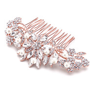 Rose Gold Plated Crystal and Pearl Floral Bridal Hair Comb - Sale!