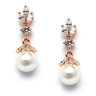 Rose Gold CZ Trio and Pearl Drop Wedding Earrings