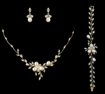 Freshwater Pearl and CZ Gold Wedding Jewelry Set with Bracelet- sale!