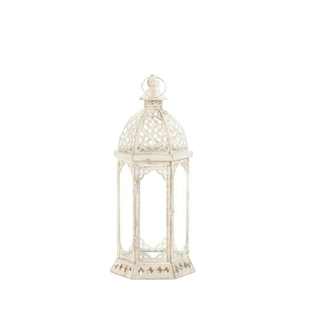 12 small distressed white vintage look lantern wedding for Cheap table lanterns for weddings