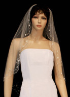 Beaded Crystal Scalloped Fingertip Length Wedding Veil