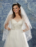 Two Layer Rhinestone Fingertip Length Wedding Veil 6902VL