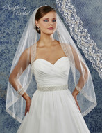 Beaded  Embroidery Fingertip Length Wedding Veil 6912VL