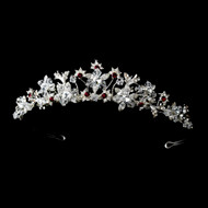 Red and Clear Crystal Wedding and Quinceanera Tiara