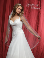 Beaded Embroidery Edge Fingertip Length Wedding Veil 6822VL