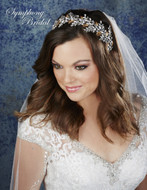 Gold Leaf Rhinestone Garland Headband Symphony Bridal 7904CR