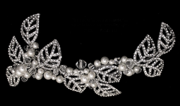 Pearl and Rhinestone Leaf Bridal Hair Clip