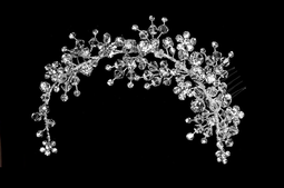 Crystal and Rhinestone Spray Double Comb Bridal Headpiece