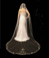 Cathedral Length Wedding Veil with Partial Beaded Crystal Edge
