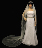 Two Layer Pearl and Crystal Beaded Cathedral Length Wedding Veil