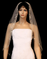 Beaded Silver Floral Embroidery Fingertip Length Wedding Veil