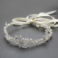 Crystal and Pearl Floral Vine Wedding Ribbon Headband