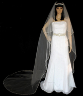 Angel Cut Beaded Silver Edge Cathedral Length Wedding Veil