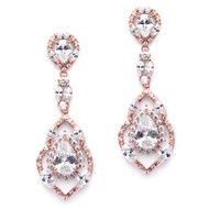 Rose Gold Cubic Zirconia Dangle Wedding and Prom Earrings
