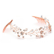 Rose Gold Crystal Vine Bridal Headpiece