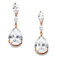 Rose Gold Cubic Zirconia  Wedding and Prom Earrings