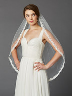 Ivory Fingertip Wedding Veil with Beaded Floral Lace Edge