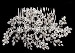 Freshwater Pearl and Rhinestone Floral Bridal Hair Comb