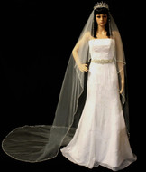 Angel Cut Rhinestone and Crystal Beaded Cathedral Wedding Veil