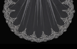 Elaborate Beaded Silver or Gold Embroidery Cathedral Wedding Veil