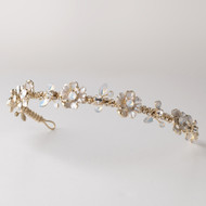 Opal and Crystal Light Gold Floral Wedding Headband
