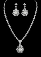 Stunning Pearl and CZ Crystal Bridal Jewelry Set