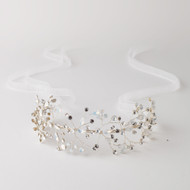 Opal Crystal Spray Silver Hand Wired Wedding Headband
