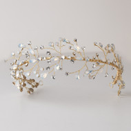 Opal Crystal Spray Gold Hand Wired Wedding Headband