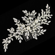 Large Silver Plated Ivory Pearl and Rhinestone Bridal Comb